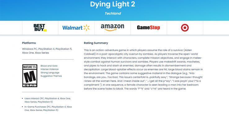 《消逝的光芒2》评级M级17+ 大量脏话粗口血腥内容