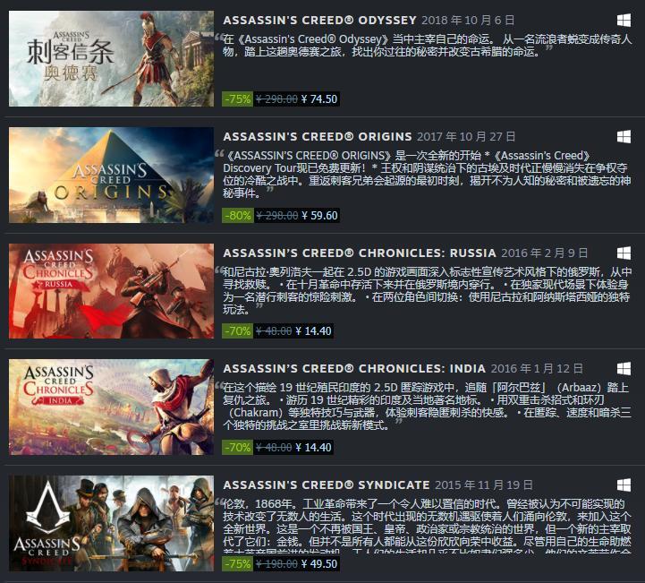 Steam《刺客信条》系列打折促销 多款游戏近平史低