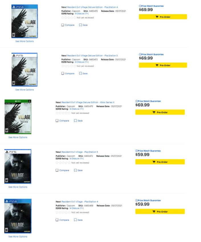《生化危机8》主机版开启预购 59.99美元起