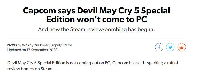 《鬼泣5特别版》不登PC平台 Steam《鬼泣5》遭玩家差评轰炸