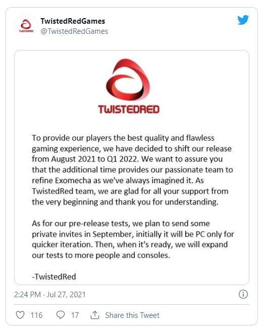免费机甲射击游戏《ExoMecha》跳票至2022Q1