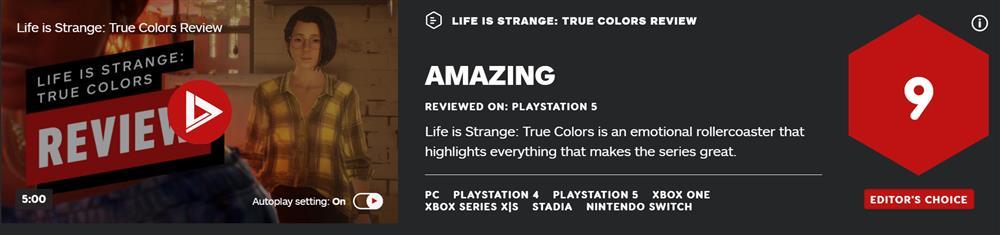 《奇异人生:本色》首批媒体评分公布  IGN称其系列最佳一作