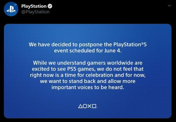 索尼官方宣布推迟PS5游戏发布会