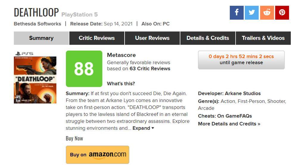 《死亡循环》首批媒体评分公布  IGN和GameSpot双10分评价