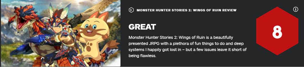 《怪物猎人物语2:毁灭之翼》各站评分公布