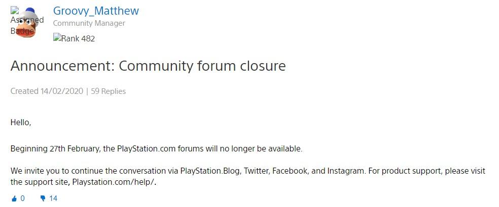 索尼宣布PlayStation官方论坛即将关闭