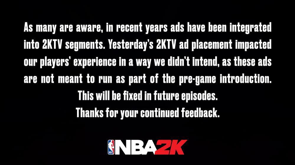《NBA_2K21》广告不可跳过_2K回应未来将修复