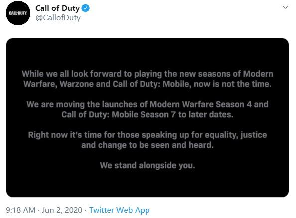 《使命召唤》官推宣布新赛季延期 为平等发声