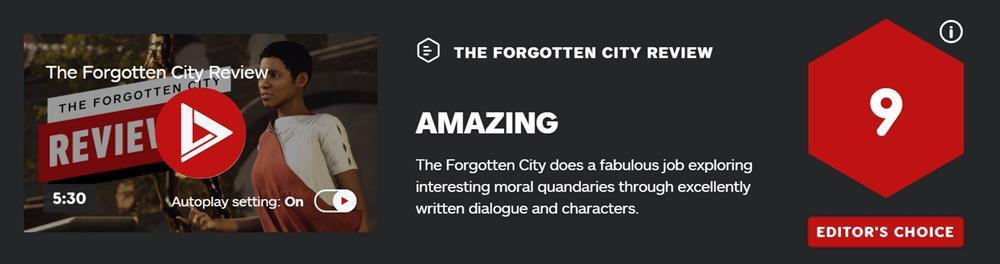 《遗忘之城》IGN评分 9分  编辑推荐之作