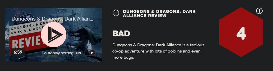 《龙与地下城:黑暗联盟》多半差评 IGN仅给出4分