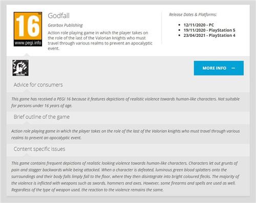 PEGI分级信息:《众神陨落l》将登陆PS4