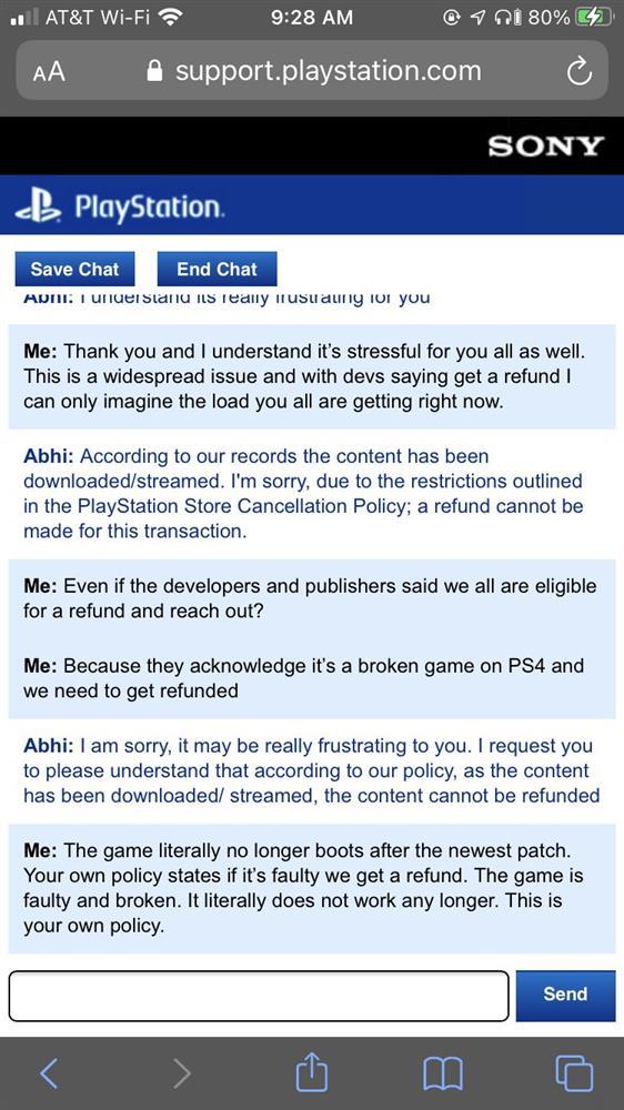 索尼拒绝《赛博朋克2077》退款_要求玩家等补丁