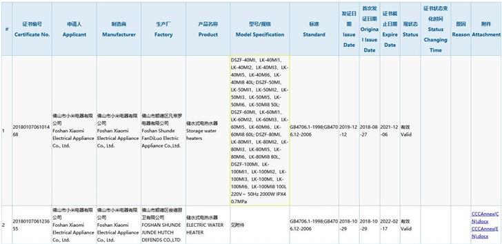 小米新款电热水器通过3C认证