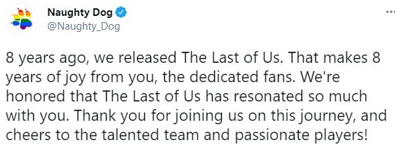 《最后生还者》8周年  顽皮狗发推感谢玩家
