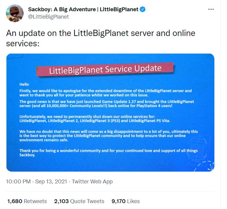 索尼宣布《小小大星球》在线服务将永久关闭