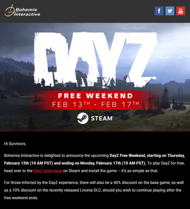 本周末《DayZ》Steam开启免费游玩 新DLC特惠